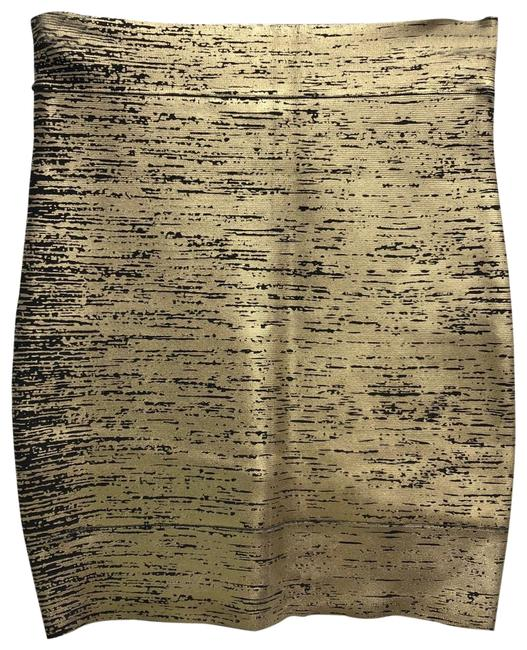 Item - Gold/Black Gold/Black Bandage Stretch Pencil Skirt Size 6 (S, 28)