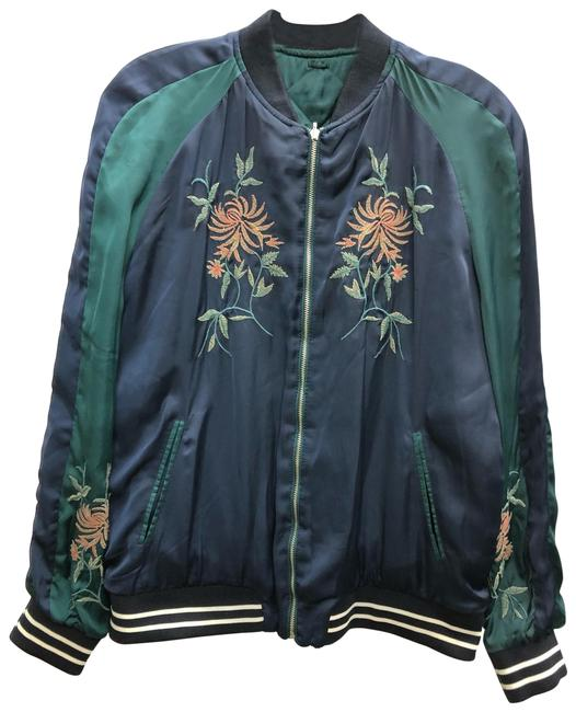Item - Multicolor XS Trafaluc Embroidered Sateen Bomber Jacket Size 2 (XS)