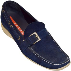 Prada Loafers Driving Boat Navy Blue Flats