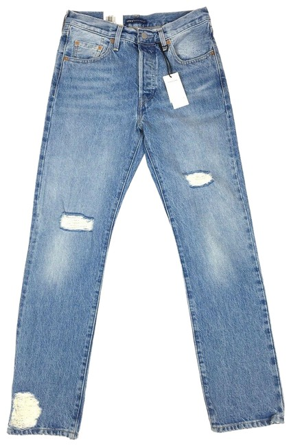 Item - Blue Light Wash Crafted Womens 501 Button 25x28 Distressed Straight Leg Jeans Size 25 (2, XS)