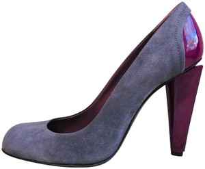 Studio Pollini Patent Suede Round Toe Grey Pumps