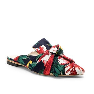 RAYE Revolve Floral Slides Bow Navy Mules