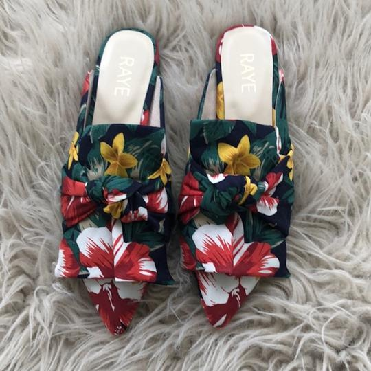 RAYE Revolve Floral Slides Bow Navy Mules Image 4