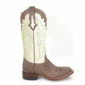 Lucchese Brown,Cream, and Blue Boots