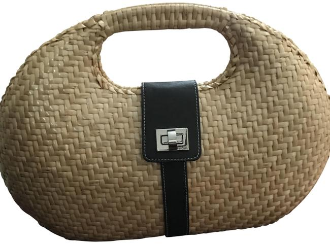 Item - Woven with Striped Canvas Interior. Tan Wicker Tote