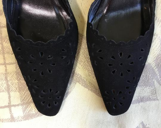 Isaac Mizrahi Suede Perforated Black Mules Image 6