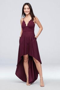 David's Bridal Wine Burgundy Polyester Spandex In Color Casual Bridesmaid/Mob Dress Size 2 (XS)