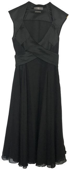 Alexander McQueen Black Silk Mq Mid-length Cocktail Dress Size 2 (XS) Alexander McQueen Black Silk Mq Mid-length Cocktail Dress Size 2 (XS) Image 1