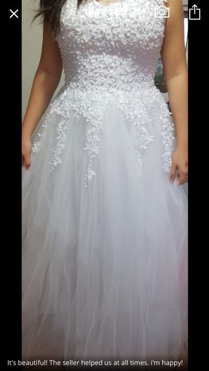 White Ivory Tulle with Pearls. 2-26w Or Customized Formal Wedding Dress Size OS (one size) Image 7