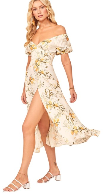 Item - Off-white Yellow Floral Pearl Aurora Mid-length Casual Maxi Dress Size 2 (XS)