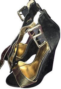 Jeffrey Campbell black and gold Wedges