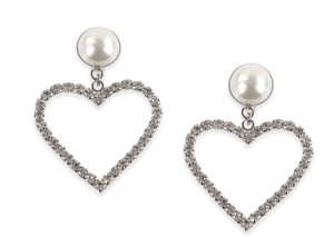 Alessandra Rich Faux Pearl with Crystal-Embellished Heart