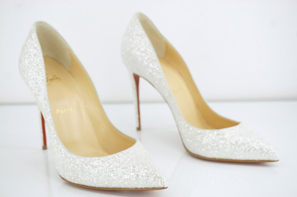 sports shoes f81e5 3ded9 Christian Louboutin White Pigalle Follies Glitter Pointy Toe Pumps Size EU  38.5 (Approx. US 8.5) Regular (M, B) 20% off retail