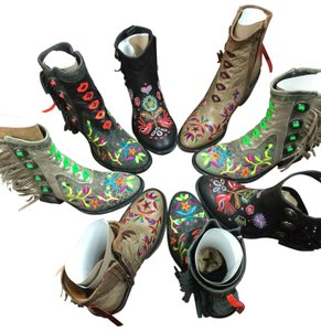 Old Gringo black leather with multi color embroidery Boots