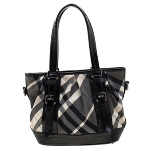 Burberry Patent Leather Nylon Tote in Black