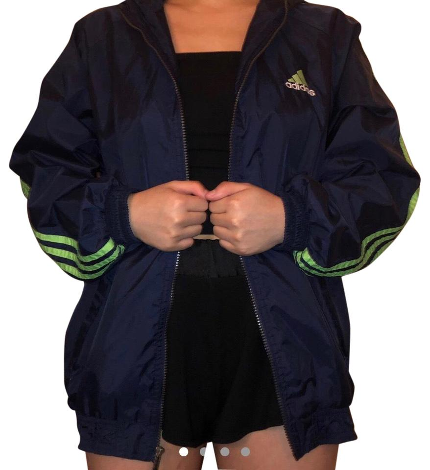 af31ebba adidas Navy and Neon Green Windbreaker Coat Size 16 (XL, Plus 0x) 41% off  retail