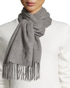 Saint Laurent Light Grey Yves Solid Color Fringe Wool