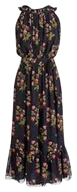 Item - Navy Multi Point Sur High-neck Ruffle Floral 2p Mid-length Casual Maxi Dress Size Petite 2 (XS)