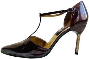 Stuart Weitzman Patent Leather Pump Strappy Stiletto Purple Formal