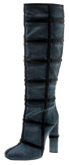 Item - Blue Denim and Leather Trim Patchwork Knee Length Boots/Booties Size EU 40.5 (Approx. US 10.5) Regular (M, B)