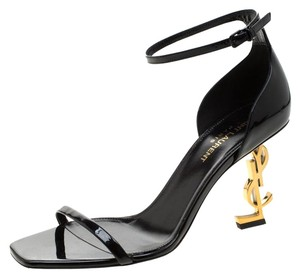 Saint Laurent Patent Leather Ankle Strap Black Sandals