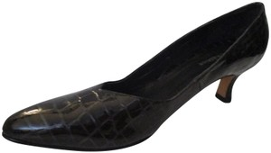 Ros Hommerson Croc Patent Rounded Toe Brown Pumps