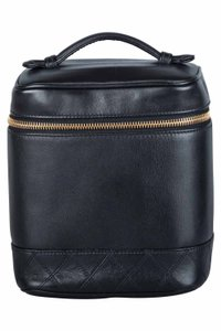 Chanel Black Leather Cosmetic Vanity Bag