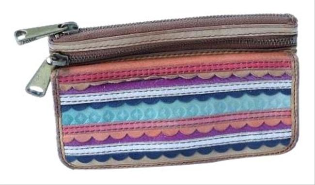 Item - Double Zip Multi Color Leather Wristlet