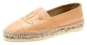 Chanel Leather Espadrilles Rubber Beige Flats