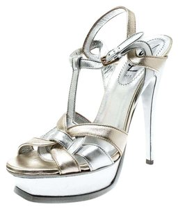 Saint Laurent Leather Metallic Sandals