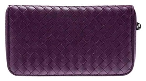 Bottega Veneta Bottega Veneta Purple Intrecciato Leather Zip Around Wallet
