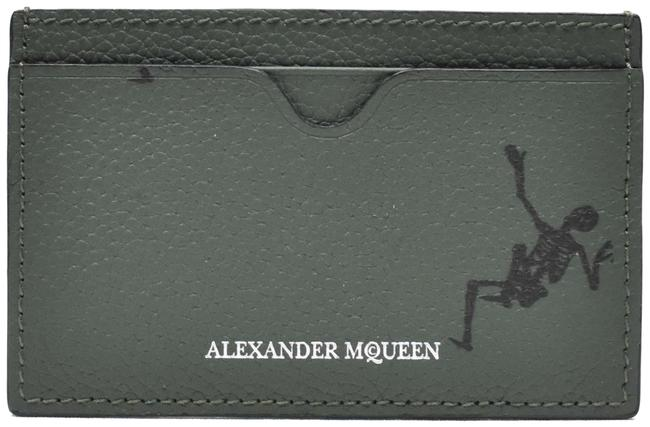 Item - Army Green Dancing Skeletons Leather Card Case Wallet