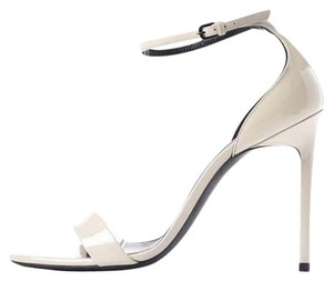 Saint Laurent Ysl Heels Patent Leather Ankle Strap Cream white Sandals