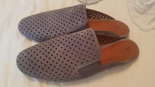 Frye Blue Leather Suede Grey Mules Image 9