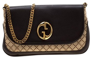 Gucci Leather Canvas Chain Shoulder Bag