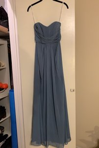 David's Bridal Steel Blue Long Strapless Chiffon and Pleated Bodic Formal Bridesmaid/Mob Dress Size Petite 2 (XS)