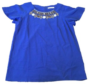 Etro Silk Beaded Embroidered Collar Top Blue