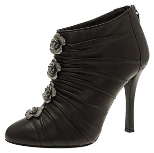 Chanel Leather Ankle Pleated Grey Boots