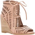 Jeffrey Campbell Cutout Lace Up Leather Tan Wedges Image 0