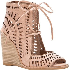 Jeffrey Campbell Cutout Lace Up Leather Tan Wedges
