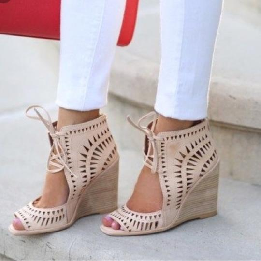 Jeffrey Campbell Cutout Lace Up Leather Tan Wedges Image 1
