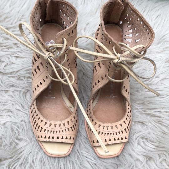 Jeffrey Campbell Cutout Lace Up Leather Tan Wedges Image 2