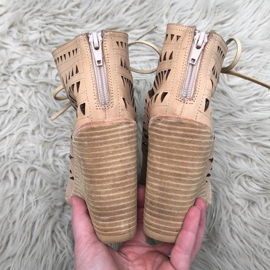 Jeffrey Campbell Cutout Lace Up Leather Tan Wedges Image 3