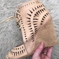 Jeffrey Campbell Cutout Lace Up Leather Tan Wedges Image 5