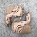 Jeffrey Campbell Cutout Lace Up Leather Tan Wedges Image 7