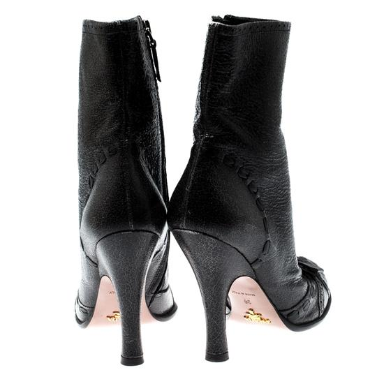 Prada Leather Detail Midcalf Grey Boots Image 2