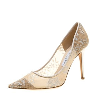 Jimmy Choo Lace Pointed Toe White Pumps