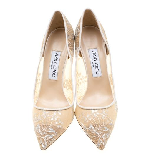 Jimmy Choo Lace Pointed Toe White Pumps Image 1