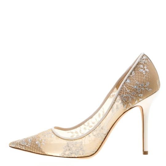 Jimmy Choo Lace Pointed Toe White Pumps Image 4