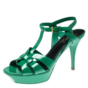 Saint Laurent Patent Leather Platform Green Sandals